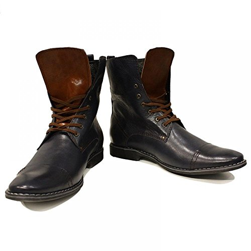 Navy blau Leder Modello Hohe Herren Rindsleder Schnüren Weiches PeppeShoes Italienisch Handgemachtes Leder Stiefel Selvaggio ZY6qIx0