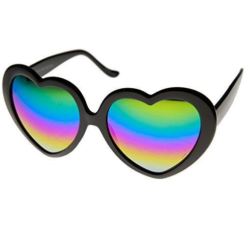 zeroUV - Womens Oversized Rainbow Color Mirror Lens Heart Shape Sunglasses (Black - Heart Shape Mirror