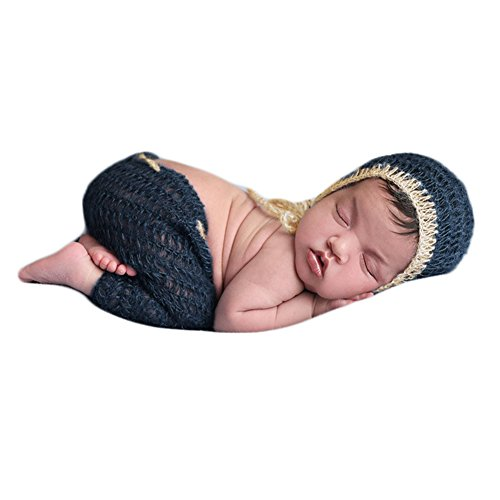 Vemonllas Fashion Luxury Unisex Newborn Baby Girl Boy Outfits Photography Props Hat Pants (Dark Blue) (Mohair Luxury)