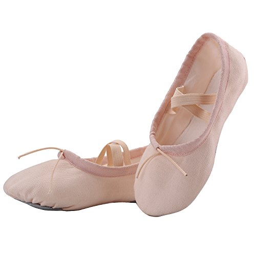 AKISS-Girls-Basic-Ballet-Slippers-Pink-Cotton-Canvas-Dance-Shoes-Gymnastics-Yoga-Flats-for-Toddlers-Little-Kids-Little-Kid-11M-Ballet-Pink