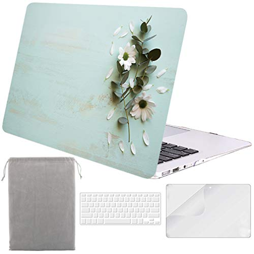 (Sykiila for MacBook Air 11 Inch Case Hard Cover 4 in 1 HD Screen Protector Film + TPU Keyboard Cover + Sleeve Protective Folio Case for Air 11'' Model: A1370 / A1465 - Floral and Wood)