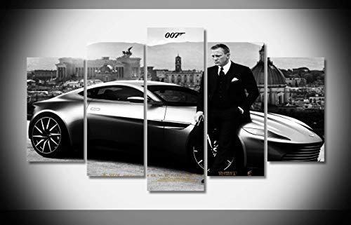 Canvastyle 5pcs Daniel Craig and Car 007 James Bond Spy War Artwork Stretched and Framed Modern Canvas Wall Art