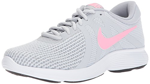 (Nike Women's Revolution 4 Running Shoe, Pure Platinum/Sunset Pulse-Wolf Grey, 8 Regular)