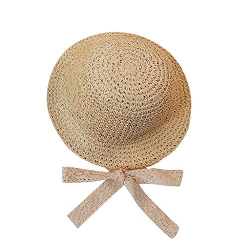 0ba5a0f9e3e98 Kinglly Wide Brim Fashion Children Summer Wide Brim Straw Hat Floppy Derby Beach  Sun Cap Beige