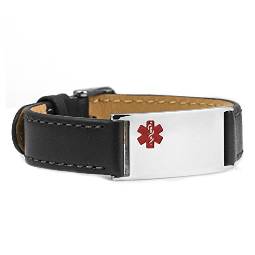 Saddle Stitched Black Leather & Stainless Medical ID with 20 Medical Condition Stickers (Saddle Strap Stitched)