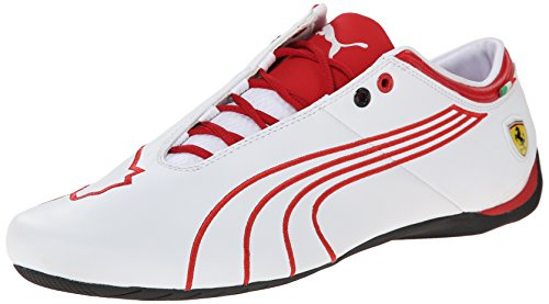 PUMA Men's Future Cat M1 Ferrari Tifosi Lace-Up Fashion Sneaker, White/Rosso Corsa, 14 M US