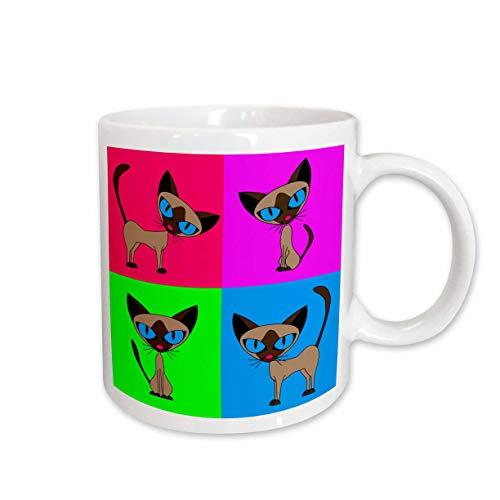 3dRose Siamese Cat Four Attitudes Design Mug, 11-Ounce