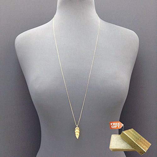 - Simple Bohemian Gold Dainty Chain Hammered Arrow Shape Design Pendant Necklace Set For Women + Gold Cotton Filled Gift Box for Free