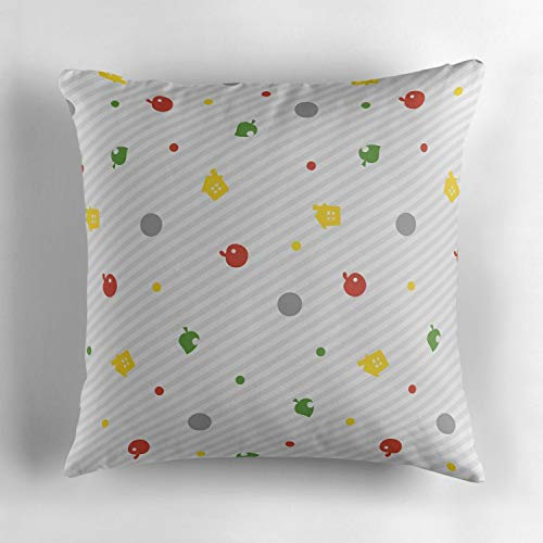 Animal Crossing New Leaf Pattern Decorative Throw Pillow Case Cushion Cover Pillowcase for Home Sofa Bed, Square 18 x 18 Inch, Soft -