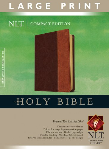 Compact Edition Bible NLT, Large Print, TuTone (Red Letter, LeatherLike, Brown/Tan) (Nlt Gift)