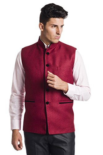 Wintage Men's Poly Cotton Bandhgala Festive Dark Pink Nehru Jacket Waistcoat,Red,50 US / - Xxxx India