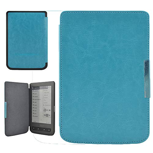 Flip Crazy Horse Leather Case Cover Standing Protective Cover for Pocketbook (Compatible for Pocketbook 614/624/626/640) Soft Microfiber Texture Cortex Inside, TLT Retail (Sky Blue)