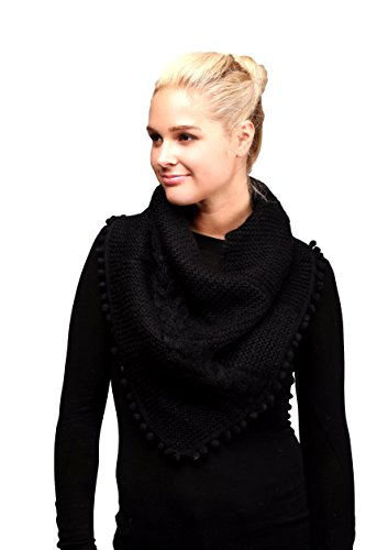 Women's Knitted Loop Tube Infinity Collar Scarf with Pom Poms (Black) by LOVE OF FASHION