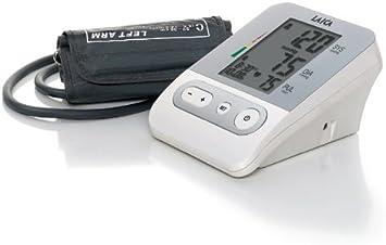 Tensiómetro de brazo con 120 memorias ( 30 memorias para 4 personas) Laica BM2301, color blanco, incluye bolsa para guardar, gran pantalla LCD de fácil lectura.