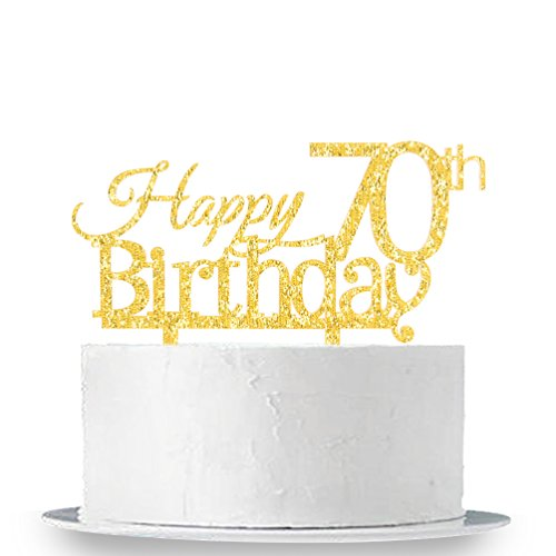 INNORU Happy 70th Birthday Cake Topper