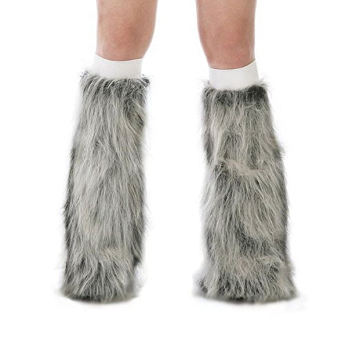 [TrYptiX Women's Fluffy Leg Warmers Grey One Size w/ White Kneebands] (Furry Rave Boots)