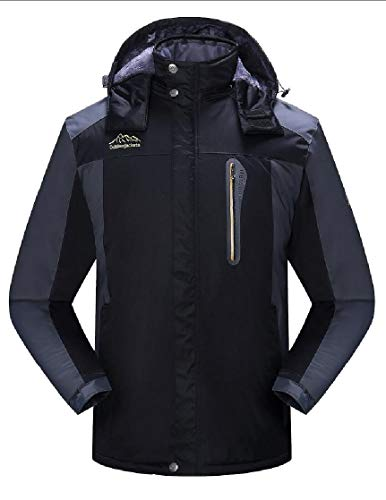 TTYLLMAO Hooded Rain Waterproof Windproof Jacket Black Men's Jacket Ski Fleece qq5rBCU