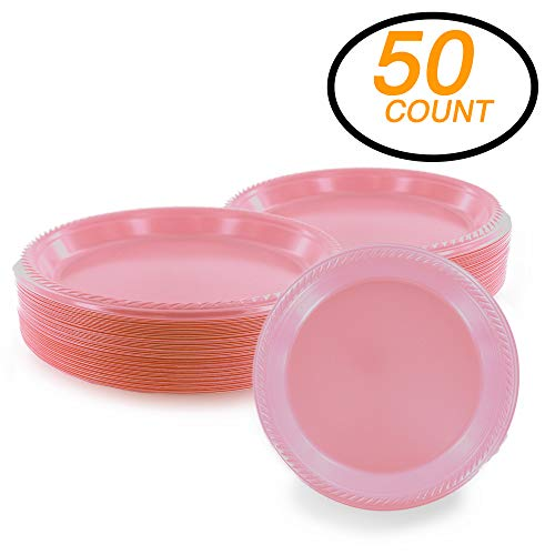 Amcrate Pink Disposable Party Plastic Dessert Plates 7 - Ideal for Weddings, Partys, Birthdays, Dinners, Lunchs. (Pack of 50)