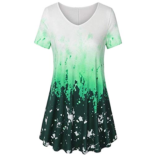vermers Fashion Plus Size Clothing for Women Short Sleeve V-Neck A Line Pleated Hem Tie Dye Tunic Tops Blouses T-Shirt(3XL, z1-Green) -