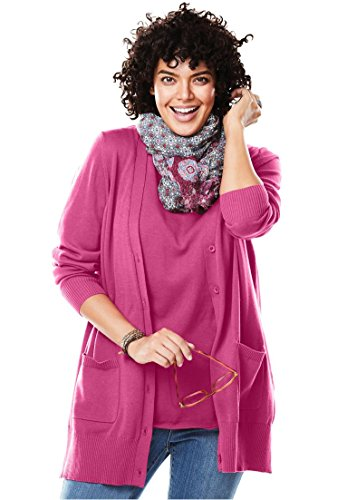 Women's Plus Size The Boyfriend Cardigan Bright Berry,3X