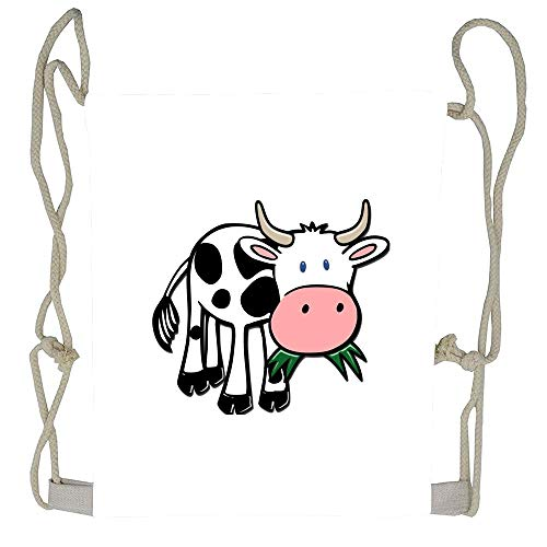 WATINCFlagHomegg Black and White Steer Munching Grass Unisex Custom Cute Sports Drawstring Backpack Bag