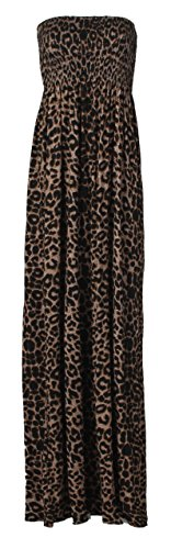 Forever Women's Sweetheart Animal-Print Strapless Long Maxi Dress, Leopard Brown, 14/16 (Leopard Jersey Dress Print)