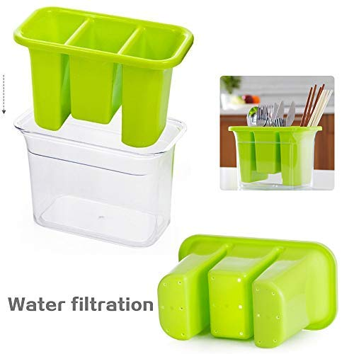 Plastic Utensil Holder, Caddy Silverware Organizer With 3 Compartment & Silverware Tray Drainer Set, Kitchen Utensil Holder- Flatware Spoon Fork Storage Basket, For Kitchen Countertop, Party, - Green Flatware Storage