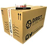 Direct Global Trading 5 Strong Cardboard Storage Packing Moving House Boxes Double Walled with Fragile Tape and Black Marker Pen 47cm x 31.5cm x 30cm 44 Litres