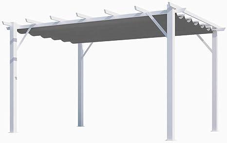HABRITA - Pérgola 100% de Aluminio, Tela Gruesa de 12 m2, Estructura Blanca Perla: Amazon.es: Jardín