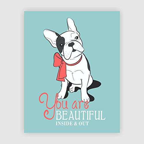 Dignovel Studios 8X10 You are beautiful inside and out Poster Kids wall art Home decor motivational art inspirational print quote poster Dog puppy art DS015