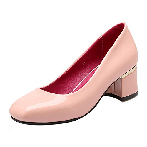 Slip Pumps Mid Square Pink On TAOFFEN Women Toe Heel Block Elegant Shoes TyZqg