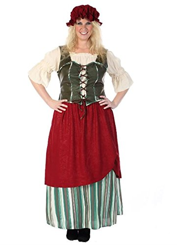 Tavern Maiden Womens Costume (HGM Costume Women's Plus-Size Tavern Maiden, Green/Red/White, XX-Large)