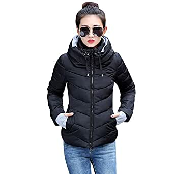 KINDOYO Women Quilted Coat - New Ladies Quilted Winter Coat Hooded Slim Down Jacket Parka Coat,Black, UK 2XL=Tag 3XL
