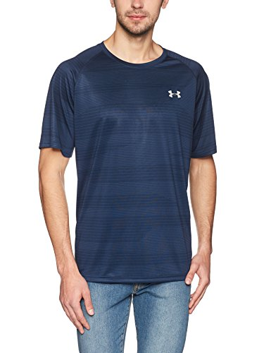 Under Armour Men's Tech Printed Short Sleeve Shirt, Academy (408)/Tin, Large