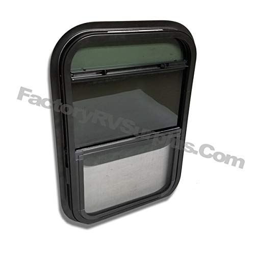 ToughGrade Vertical Slide Black RV Window 18 X 18 X 1 1//2 with Trim Ring