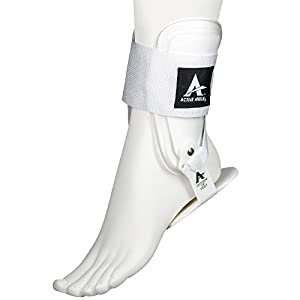 Active Ankle T2 Ankle Brace, Rigid Ankle Stabilizer for Protection & Sprain Support for Volleyball, Cheerleading, Ankle Braces to Wear Over Compression Socks or Sleeves for Stability, White, Small