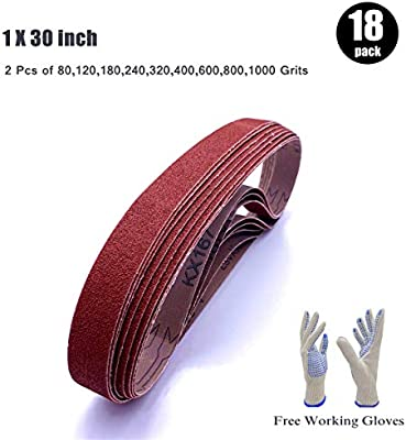 Awesome 1 Inch X 30 Inch Belt Sander Paper Aluminum Oxide Sanding Belt Assortment 2 Each Of 80 120 180 240 320 400 600 800 1000 Grits 18 Pack 1X30In Machost Co Dining Chair Design Ideas Machostcouk