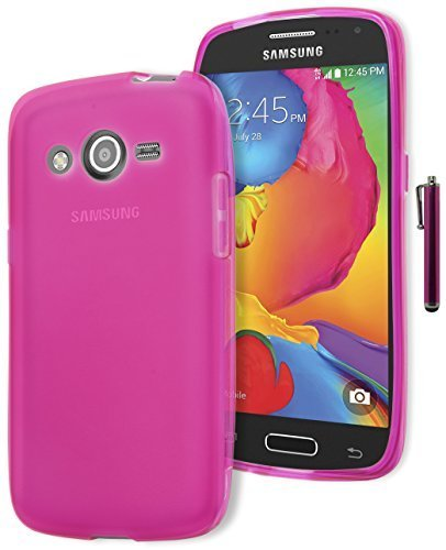 Galaxy Avant Phone Case, Bastex Protective Frosted Hot Pink Rubber TPU Gel Case Cover for Samsung Galaxy Avant G386INCLUDES STYLUS
