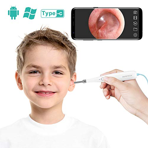 DEPSTECH USB Ear Inspection Otoscope Camera for Ear Health Checking 6 Adjustable LED, Digital Otoscope for OTG Android Devices, Windows & Mac PC