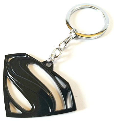 Superman S Symbol Keychain - DC comics accessory for your home, auto, or boat keys (Black, alloy) (Comic Key)
