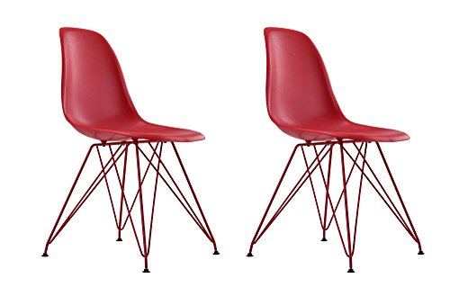 DHP Mid Century Modern Molded Chair with Coloured Leg, Set of Two, Red Designer Style Accent Chair