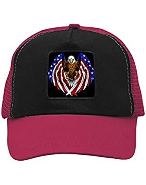 Unisex American Flag Eagle Wings Trucker Hat Adjustable Mesh Cap