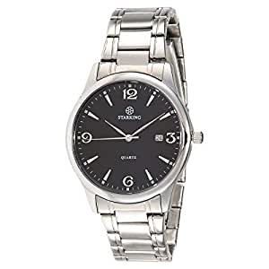 Starking Men's Black Dial Stainless Steel Band Watch - BM0942SS12