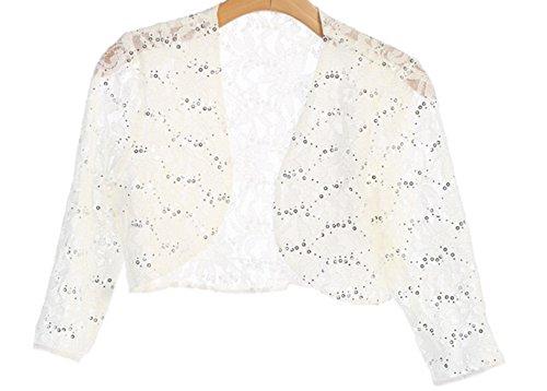 Angel's 3/4 Sleeve Lace Bolero Bridal Jacket Bodice Fully Lined Shrug Jacket NWT (SMALL, IVORY)