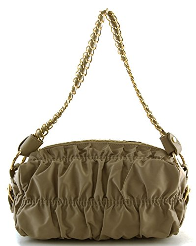 Lush Leather Ruched Chain Leather Strap Olive Grey Bag