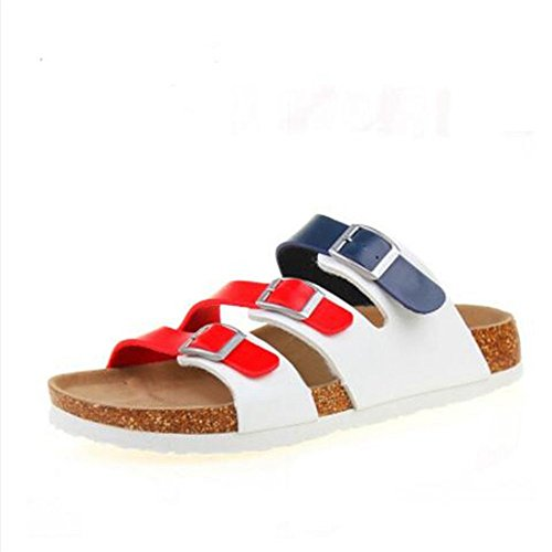YaMiFan Soft Strap Women's 16 Flops Sandals Flat Adjustable Slide Footbed Cork Flip qOwT5qr