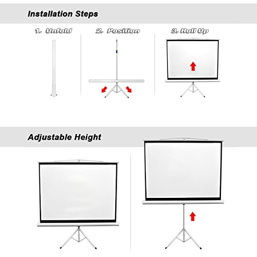 Projector Screen with Foldable Stand Tripod, Excelvan Portable Video HD Diagonal 16:9 Indoor Outdoor Screen Adjustable Wrinkle-Free Design for Home Cinema Movie Projection(100 inch) by Excelvan (Image #2)