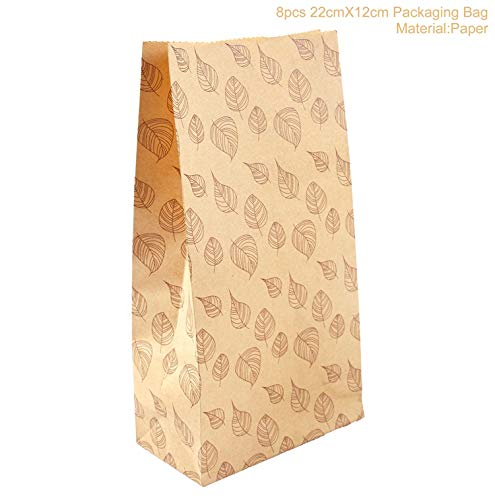 Ranggrgt Kraft Paper Bags Popcorn Bag Candy Box Christmas Goodie Bags Printed Paper Treat Bags Paper Wedding Decor Wavy Stripes 8pcs Style 04