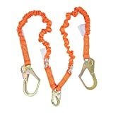 4.5 Foot – 6 Foot Malta Dynamics Fall Protection Double Leg Stretch Internal Shock Absorbing Lanyard With One Steel Snap Hook and Two Rebar Hooks