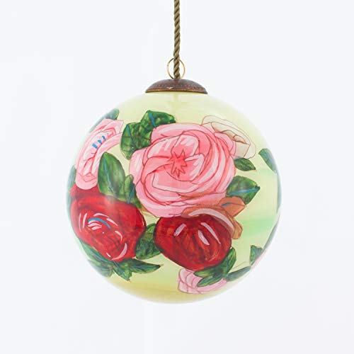 La Pastiche Discarded Roses Hand Painted Glass Ornament, 3.5